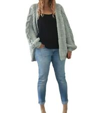 River Island Oversized Chunky Cable Knit Cardigan Grey Marl Cozy Knitted Medium