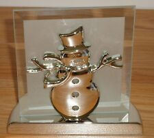 SNOWMAN WINTER metal & glass Tealight Candle Holder w/Box by Kirkland