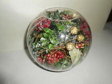 Home Interior Glass Candle Globe with Christmas Greenery Decor
