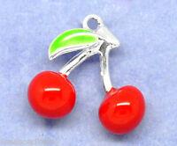 10 SP Enamel 3D Cherry Charms Pendants 16x16mm