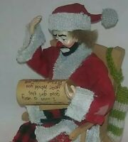 EXTREMELY RARE Emmett Kelly Jr Fabric Mache Santa Figurine rocking
