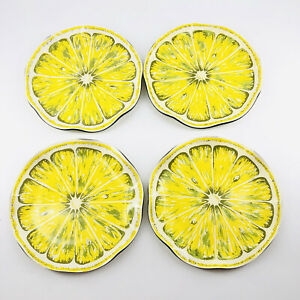 Vintage 1970s MCM Slotter Molded Plastic Wavy Lemon Slice Small Plate Set of 4