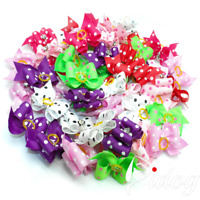 20/50pcs Rhinestone Dog Hair Bows With Rubber Bands Pet Puppy Grooming Accessory