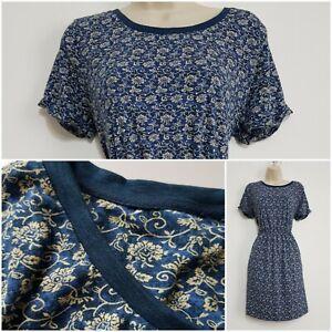 Fat Face Ex Jersey Dress Size 12 Blue Floral Pattern Pockets Elastic Waistband