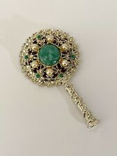 Vintage Sam Fink Faux Jade and Pearl Gold Tone Flower Hand Mirror ~ 4�