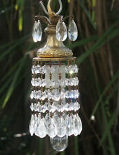 1of4 hanging baby SWAG plugin lamp Chandelier Crystal prism spelter Tole