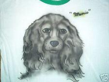 vtg MAMIE RINGER TSHIRT airbrushed family pet dog XL