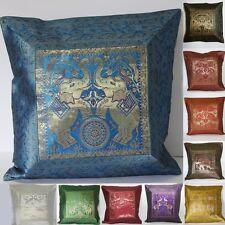 Kissen,Kissenhülle, Indien-Dekokissen-Brokat,mit Elefanten Orient Gold