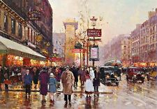 Rainy French Main Street Scene Print  Poster