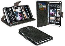 Book-Style Handyhülle Case Cover für HTC ONE Max + Folie // Anthrazit