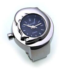 Ring Uhr Fingeruhr Delfin Quartzwerk Qualität Flexband schwarz Ringuhr