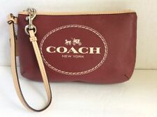 COACH WRISTLET HAND BAG, HORSE AND CARRIAGE NEW YORK LOGO, CRIMSON RED F51788