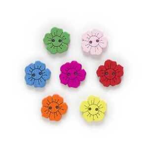 50pcs Sun flower Shape Wood Buttons Sewing Scrapbooking Home Cloth Making Decor