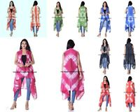 Femme Shibori Tie And Dye en Vrac Châle Long Kimono Cardigan Boho Veste Chemise