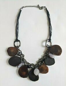 Stone Slice Womens Necklace Boho Brown Statement Chunky Hemp 16 18 In Adjustable