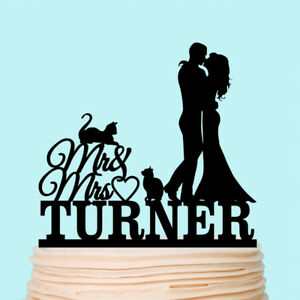 Pet Wedding Cake Topper Silhouette with Cats Bride Groom Family Toppers Custom