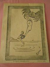 Le Superbe instantané promis Le Crabe pince le doigt de pied Humour Print 1905