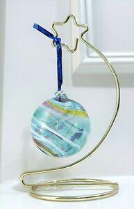 Hand Blown Glass Light Blue w/ Multi-Color SWIRL Orb Gazing Ball Ornament - GUC