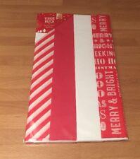 Natale Tessuto Carta Rosso Bianco 12 fogli CARTA da REGALO CONFEZIONE REGALO 50x66cm