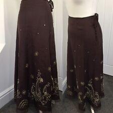 Monsoon Silk Maxi Skirt Embellished Gold Thread Boho Sz 8/10 Ethnic Gypsy