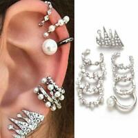 9PC/set Clip-on Pearl Earring Piercing Crystal Ear Cuff Clip Wrap