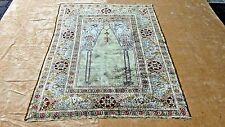 SEMI ANTIQUE PERSIAN SILK PRAYER RUG WITH GREEN AND IVORY FIELD 6' x 4'