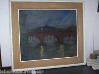 huilesur toile pont de paris signée. 1971 long de la seine Auteuil peintre itali