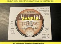 Only fools and horses Repro Classic Car Vehicle Tax Disc from reliant regal 66