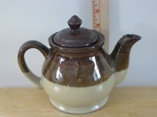 Vintage Three Color Brown Tan Glazed Stoneware Teapot
