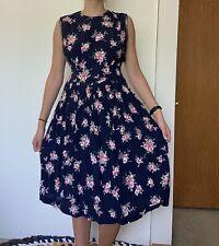 vintage 80s worthington navy floral midi dress