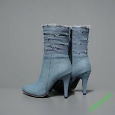 Women All UK Size 12 Zip Ankle Boot Denim Warm Winter Party High Slim Heel  New