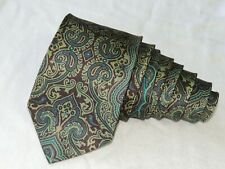 "Ermenegildo Zegna  MEN'S TIE  GREEN, BROWN/PAISLEY 3.50"" 59"" ITALY"