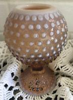 Vintage Fenton Glass Vase Pink Bowl Pedestal Hobnail Opalescent