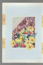 """FLOWERS & FRUIT w/ Textile background 6x8"""" #9037 Greeting Card Art"""