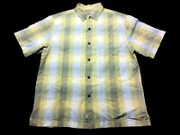 Tommy Bahama Mens Yellow Plaid Short Sleeve Button Front Shirt Size Large