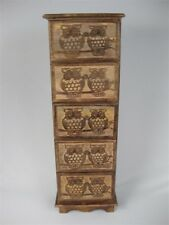 OWL DESIGN CHEST OF 5 DRAWERS 79CM BEDSIDE TABLE HAND CARVED SOLID MANGO WOOD
