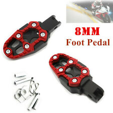 2x Universal Motorcycle Pedal Non-slip FootPegs Red Belt Spring 8MM Installation