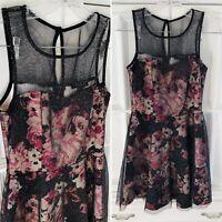 Trixxi Dress Sz S Black Pink Floral Glitter Party Sparkle Flower Women Holiday