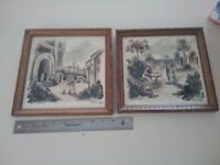 Vintage pair lithographs titled Carmen La Traviiata Paris  Lithographs Framed