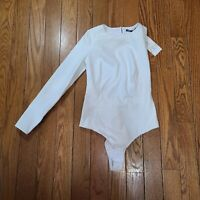 NWT Zara Women's White ASYMMETRIC BODYSUIT Size Medium M
