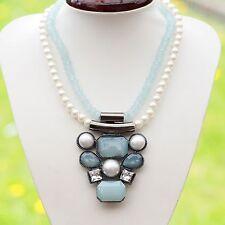 Neu 41cm+7cm HALSKETTE mit PERLEN in blau/türkis/weiß/creme/kristallklar COLLIER