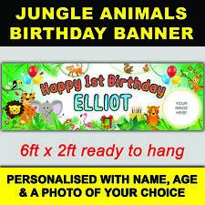 ***NEW*** PERSONALISED JUNGLE ANIMAL SAFARI KIDS BIRTHDAY BANNER 6ft x 2ft SIZE