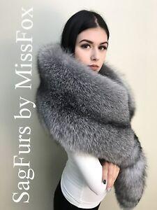 New: Saga Royal Blue frost fox fur stole wrap. Detachable tail.