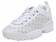 Fila Women's Disruptor-II-Clear-Logos White/Fila Navy/Fila Red Sneakers Shoes