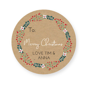 24 Personalised Christmas Labels Stickers  Gift Label Tags Present Wrapping Tag