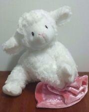 GUND Baby Lena Lamb Plush w/ Pink Blanket Velcro Hands White Lovey Says Prayer