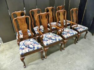 """8 Solid Cherry Queen Anne Dining Chairs: """"Salem"""" Collection By Henredon"""
