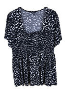 Womens 2X Black and White Print Short Sleeved Stretch Top Smocked Bodice George