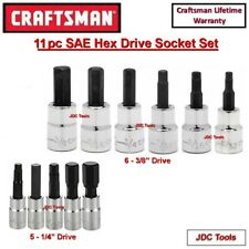 CRAFTSMAN TOOLS 11pc 1/4 3/8 SAE Hex Allen key bit ratchet wrench socket set
