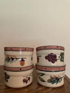 Hartstone Pottery USA Vintage Fall Leaves-Blueberries-Grapes Ramekins (Set of 4)